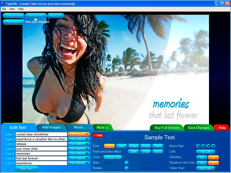 Create your own professional Flash intros in minutes for your website! wonderful Screen Shot